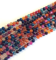 Natural Faceted Agate multi Colored Gemstone beads