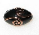 Oval Bohemian glass black copper bead