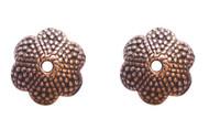 Pewter Bead cap flower Antique copper