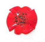 Red Bohemian glass flower copper bead