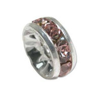 Rose crystal silver plated rondelle spacer 8mm