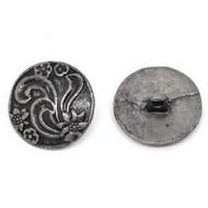 Round Antique Silver Round Button 2PCs 2