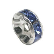 Sapphire crystal silver plated rondelle spacer 5mm
