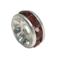 Siam crystal silver plated rondelle spacer 5mm