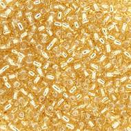 Silver Lined Lt Topaz Japanese Glass Seed beads 15 Gram