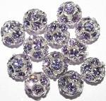 Silver Violet Rhinestone 10mm ball