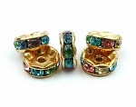 Spring Multi Crystal gold plated rondelle 8mm spacer