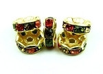 Spring Multi crystal gold plated rondelle 8mm spacer 1