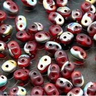 Superduo 2.5x5mm Ruby Vitrail Mat Beads 10GM Bag