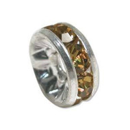 Topaz crystal silver plated rondelle 5mm spacer