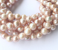 Genuine natural Potato Lt Lilac Rose Round Freshwater Pearl Beads