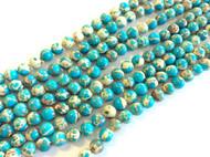 fine genuine Blue Impression Jasper Gemstone Beads