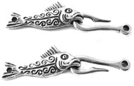 Antique Silver Fish Hook hand forged clasp