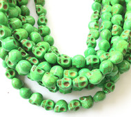 Gemstone natural skull Bright Green Beads