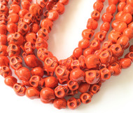 Gemstone natural skull Bright Red Beads