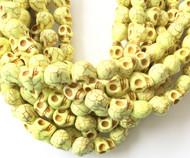 Gemstone natural skull Lime Yellow Beads