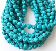 Gemstone natural skull Blue Turquoise Beads