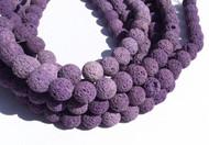 39 Perfect Round Purple unwaxed Volcanic Gemstone lava Beads