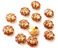 10mm  Swarovski Margarita Capri Gold Crystal Flower Beads
