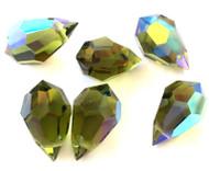 Drop Olivine AB Preciosa Czech Crystal Beads