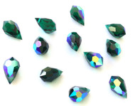 Emerald AB Preciosa Drop Czech Crystal Beads