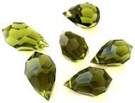 9x15mm Drop Olivine Preciosa Czech Crystal Beads