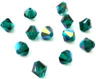 8mm  Emerald AB Preciosa Czech Crystal Bicone Beads