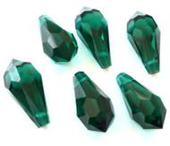 Teardrop Emerald Preciosa Czech Crystal Beads