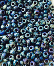 6/0 Japanese seed beads Picasso Opaque Cobalt Miyuki Glass Seed Beads-100grams