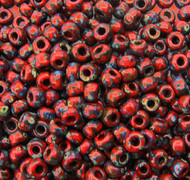 6/0 Japanese seed beads Opaque Red Picasso Miyuki Glass Seed Beads-100grams