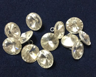 Clear Crystal Rhinestone Shank Buttons Silver Sewing