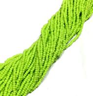13/0 Charlotte Cut 12 Strands Preciosa Czech Apple Green Glass Seed Beads