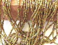 9/0 Charlotte 3Cut Czech PRECIOSA Gold Iris Glass Seed Beads-1Hank-10Strands