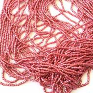 9/0 Charlotte 3Cut Czech PRECIOSA Metallic Rose Pink Glass Seed Beads-1Hank-10Strands
