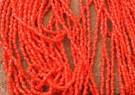 9/0 Charlotte 3Cut Czech PRECIOSA Opaque Red Glass Seed Beads-1Hank-10Strands