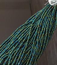 11/0 Charlotte cut Czech Green Iris Glass Seed Beads-full Hank
