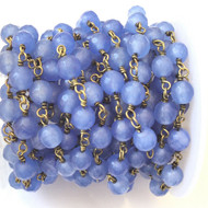 Round Faceted Blue Jade Antique Brass Link Rosary Chain- Beading Supplies