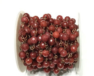 Gemstone Dk Red Jade Beads Antique Copper Rosary Chain- Beading Supplies