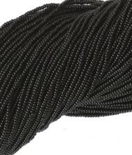 11/0 Czech Opaque Black Glass Seed Beads Full Hanks