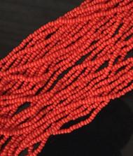 11/0 Czech Preciosa Opaque Red Glass Seed Beads Full Hank- 12 Strands