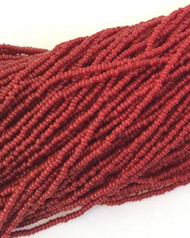 15/0 Two Hanks Czech Opaque Red Glass Seed Beads # 4008