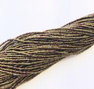 15/0 Full Hank Czech Khaki Purple Iris Glass Seed Beads- Czech seed Beads