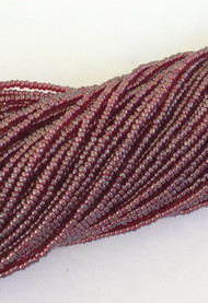 15/0 Two Hanks Czech Transparent Red Luster Glass Seed Beads #142