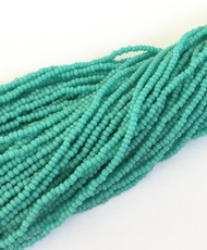 15/0 one Hanks Czech Opaque Green Turquoise Glass Seed Beads #447