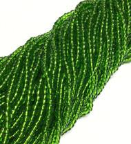 6/0 Czech Seed Beads Transparent Green Glass-6 Strands-Seed Beads 30 grams