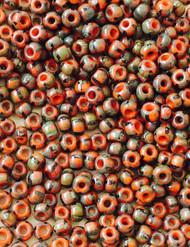 6/0 Preciosa Czech Seed Beads Opaque Red Picasso round Glass beads 15 grams