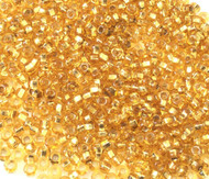 Czech round 8/0 Transparent Silver Lined Gold Glass Seed Beads 30 grams