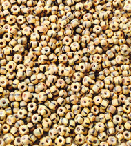 Czech round 8/0 Aged Brown yellow Etch Glass Seed Beads 30 grams