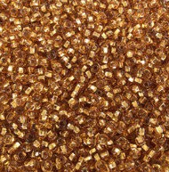 Czech round 8/0 Transparent Silver Lined Amber Glass Seed Beads 30 grams
