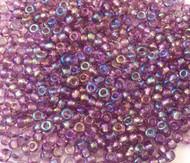 Czech round 8/0 Transparent Amethyst Rainbow Glass Seed Beads 30 grams